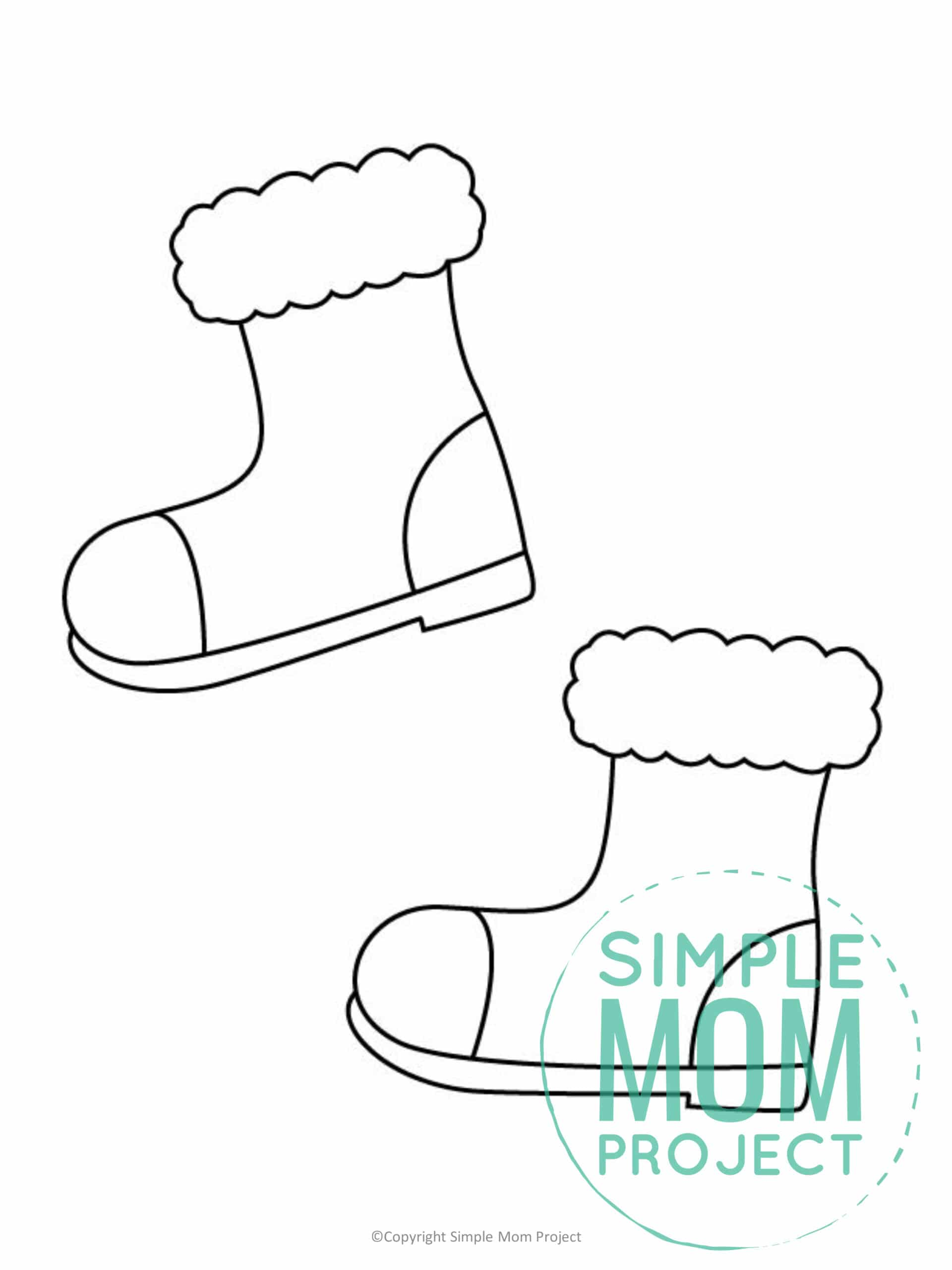 Printable Snow boots Template coloring page for preschoolers, toddlers and kindergartners 1