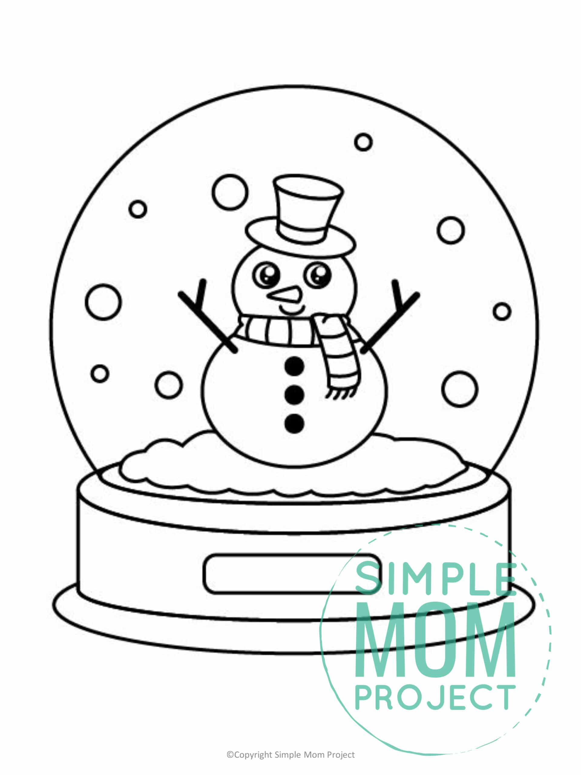 Printable Snow globe Template coloring page for preschoolers, toddlers and kindergartners 1