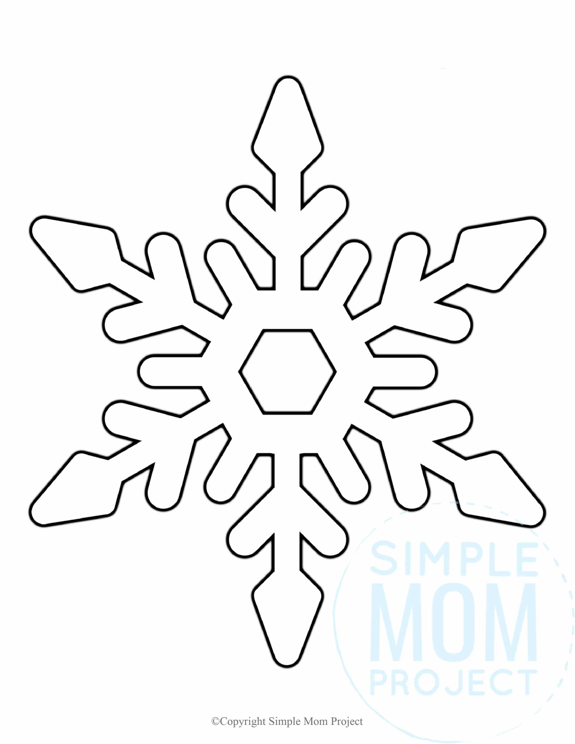 Printable Snowflake template, snowflake pattern, snowflake stencil, snowflake outline for kids winter crafts