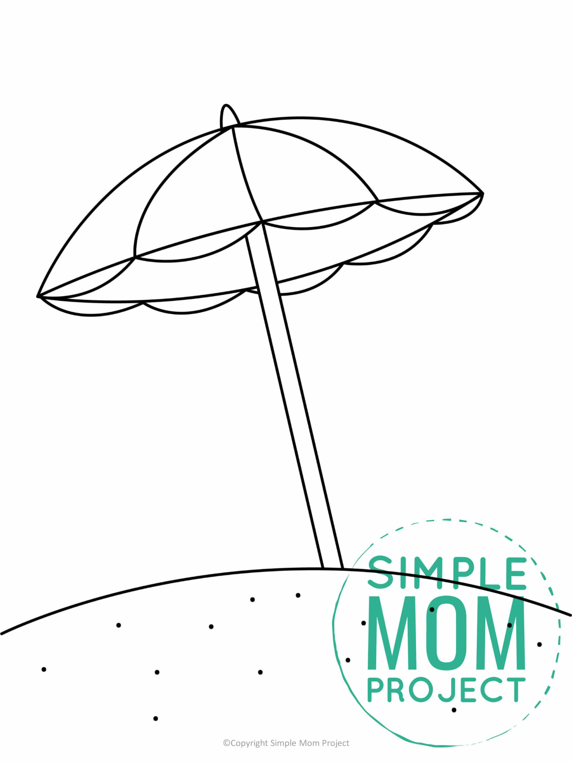 printable beach umbrella template for kids, preschoolers, and toddlers