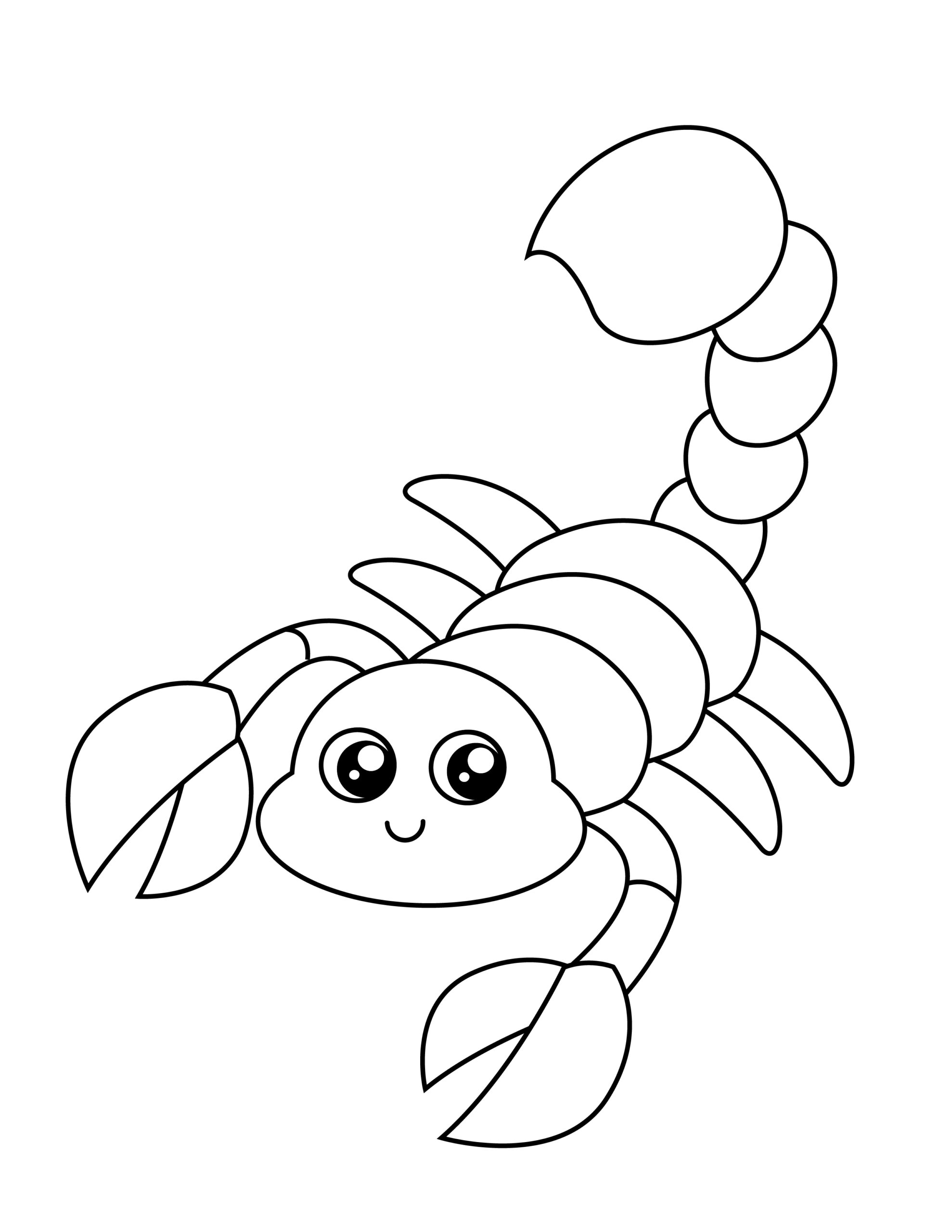 Printable scorpion template for summer template crafts for kids, preschoolers and toddlers