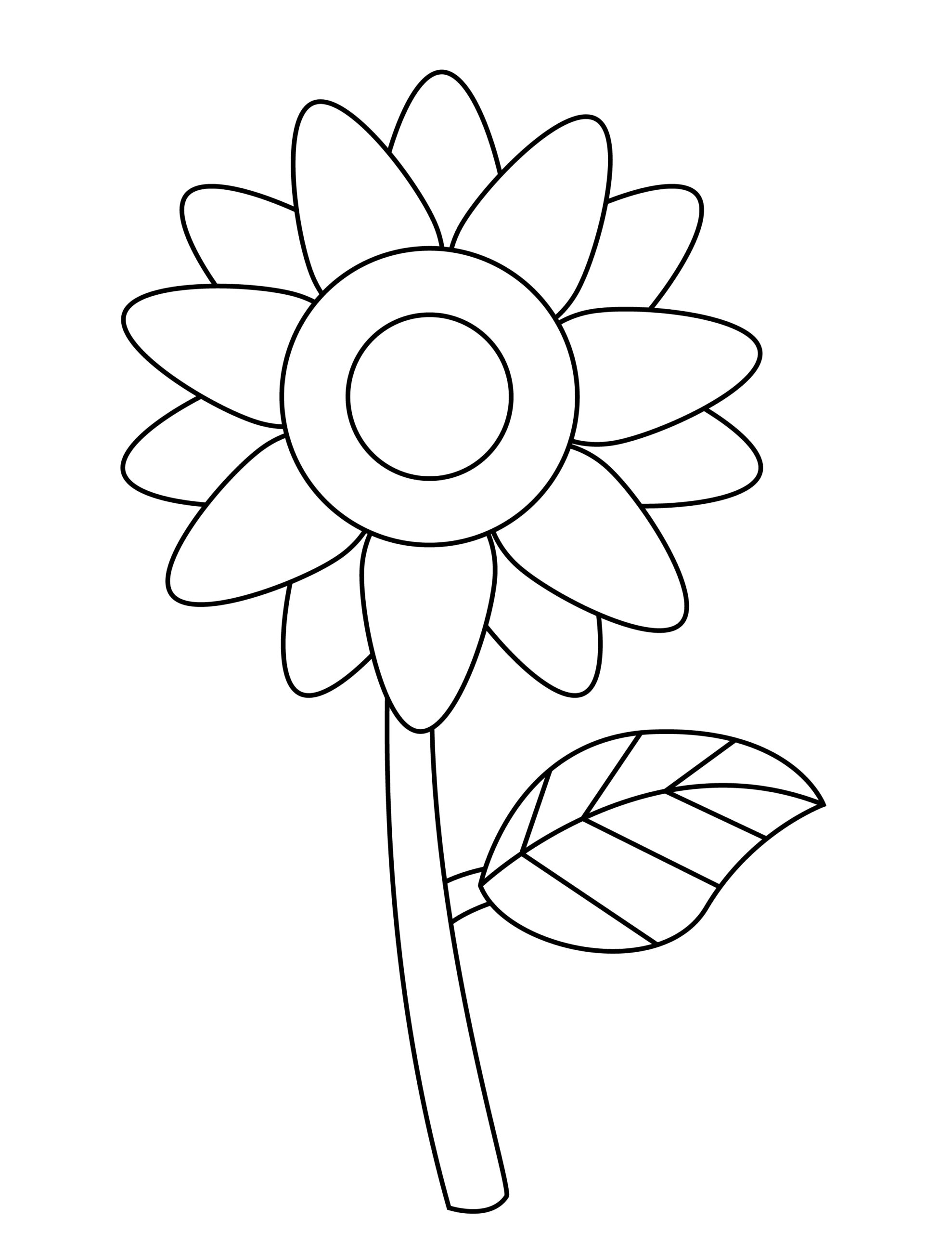 Printable sunflower template for summer template crafts for kids, preschoolers and toddlers